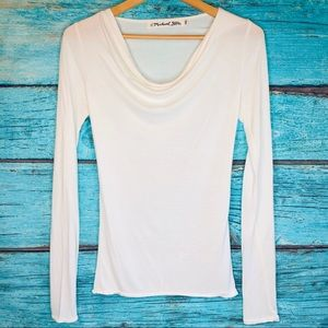 Michael Stars Drape Neck White Top